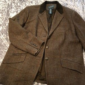 18W RALPH LAUREN WOOL / LEATHER BLAZER